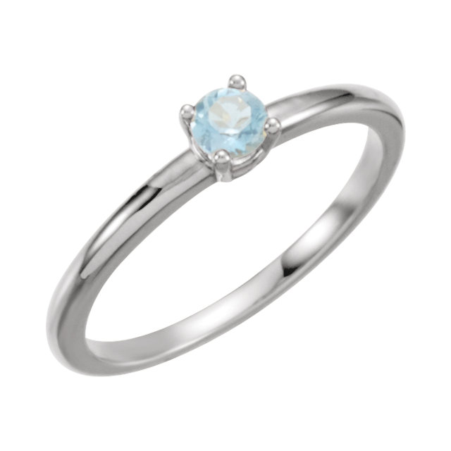 Must See 14 KT White Gold Aquamarine
