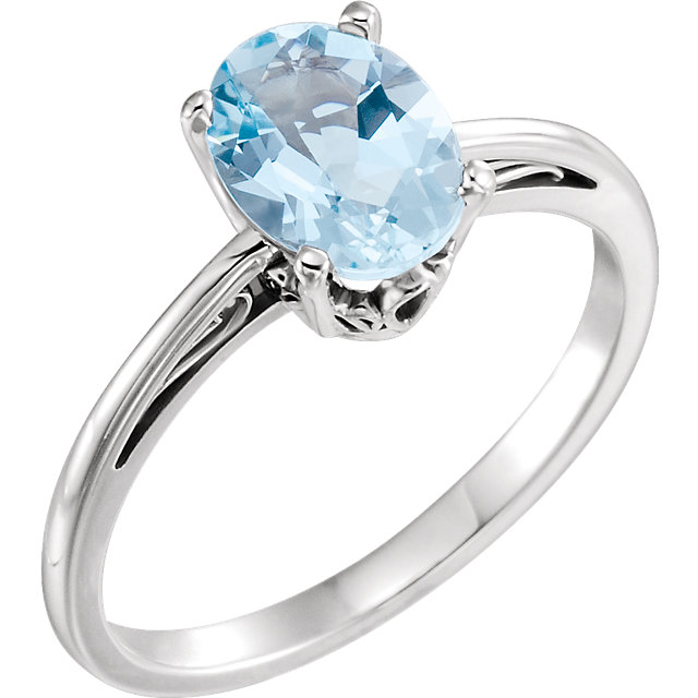 Perfect Gift Idea in 14 Karat White Gold Aquamarine Ring