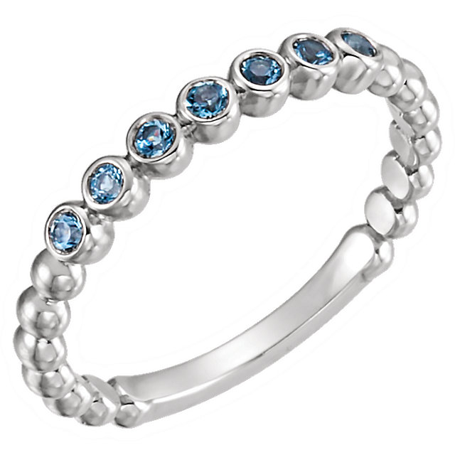 Surprise Her with  14 Karat White Gold Aquamarine Stackable Ring