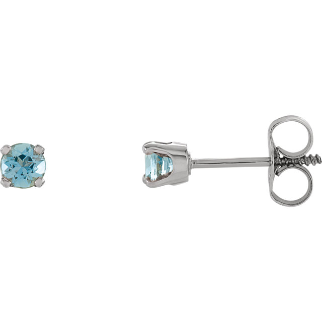 Must See 14 Karat White Gold Genuine Aquamarine Earrings