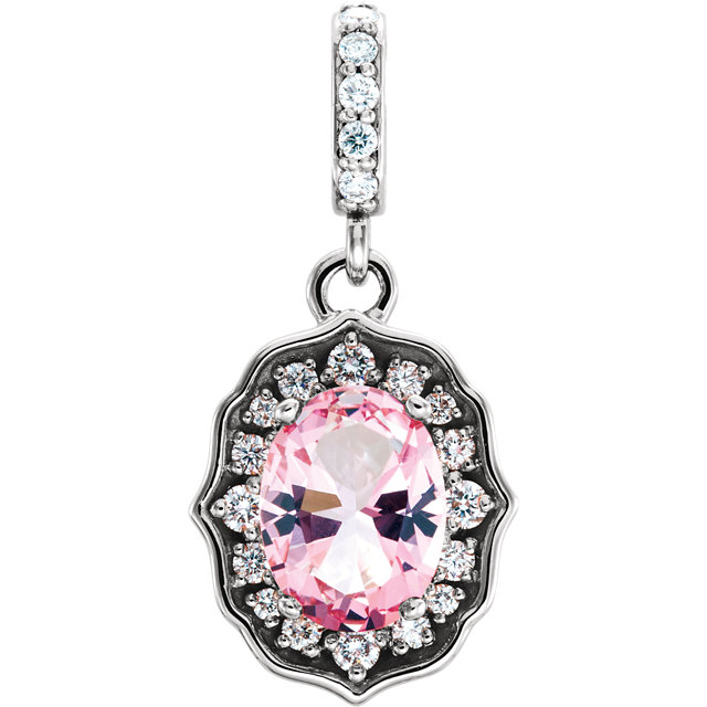 Fine Quality 14 Karat White Gold Baby Pink Topaz & 0.17Carat Total Weight Diamond Pendant