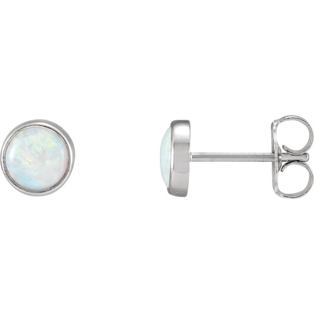 Beautiful 14 Karat White Gold Bezel-Set Opal Earrings