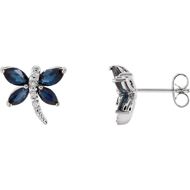 Eye Catchy 14 Karat White Gold Blue Sapphire & .04 Carat Total Weight Diamond Earrings