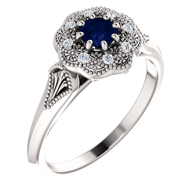 Chic 14 Karat White Gold Blue Sapphire & .06 Carat Total Weight Diamond Ring Vintage-Inspired Halo-Style Ring