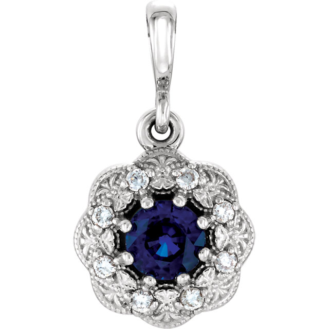 Fine Quality 14 Karat White Gold Blue Sapphire & .06Carat Total Weight Diamond Pendant