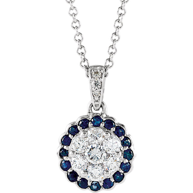 Genuine  14 Karat White Gold Blue Sapphire & 0.33 Carat Diamond Necklace