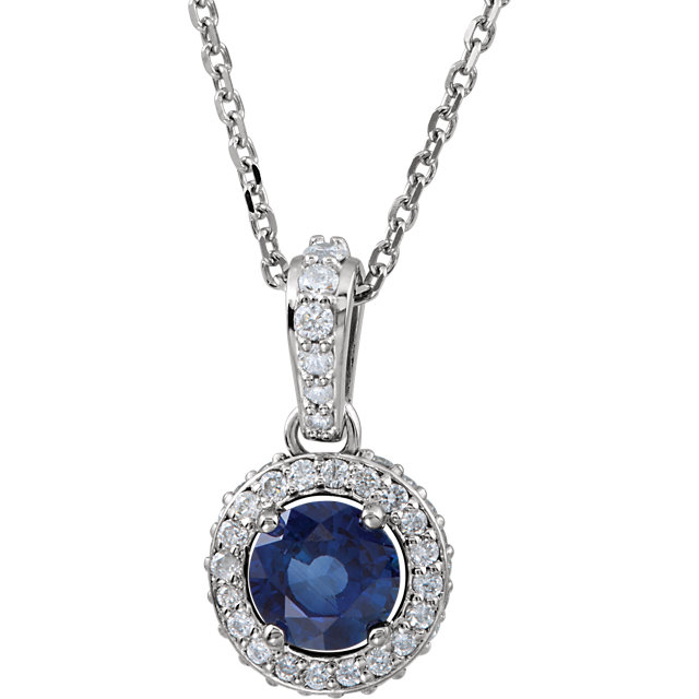 Stunning 14 Karat White Gold Blue Sapphire & 0.20 Carat Total Weight Diamond 18