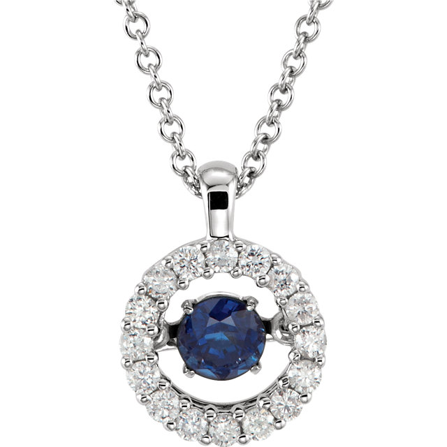 14KT White Gold Blue Sapphire & 1/5 Carat Total Weight Diamond 18