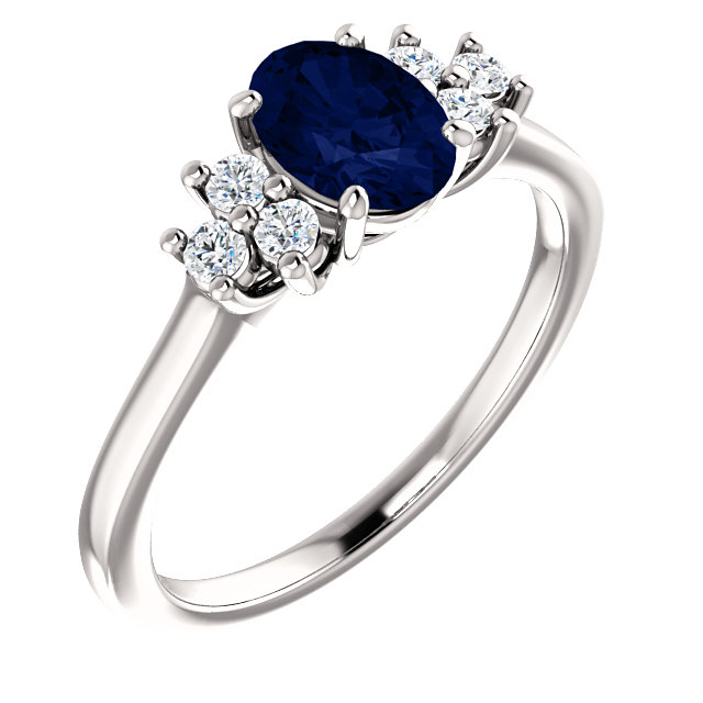 Contemporary 14 Karat White Gold Blue Sapphire  & 0.20 Carat Total Weight Diamond Ring