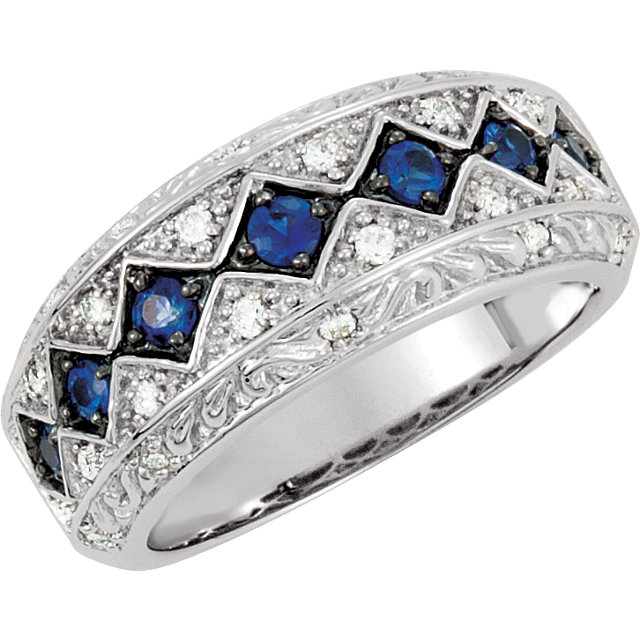 Genuine Sapphire Ring in 14 Karat White Gold Genuine Sapphire & 1/5 Carat Diamond Ring Size 5.5