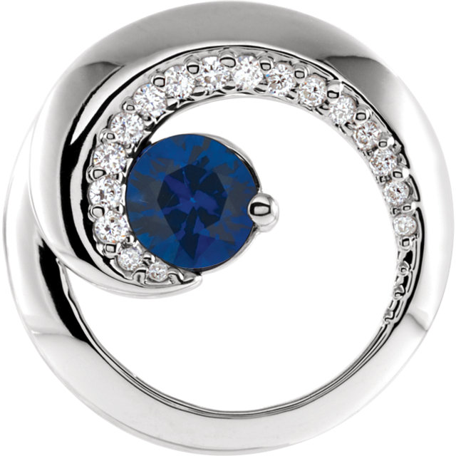 Incredible 14 Karat White Gold Round Genuine Blue Sapphire & 1/5 Carat Total Weight Diamond Pendant