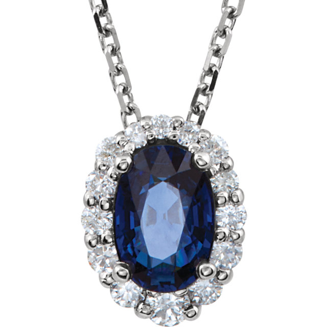Genuine  14 Karat White Gold Blue Sapphire & 0.17 Carat Diamond 18