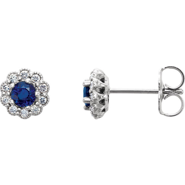 Beautiful 14 Karat White Gold Blue Sapphire & 0.17 Carat Total Weight Diamond Earrings