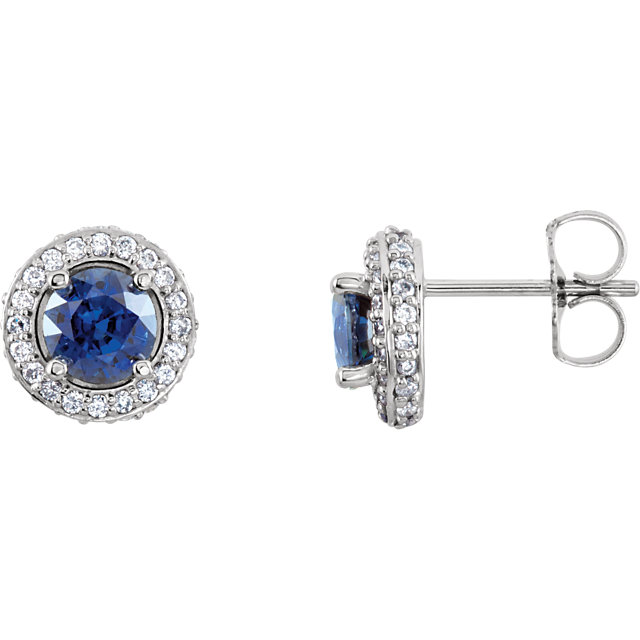 Easy Gift in 14 Karat White Gold Blue Sapphire & 0.33 Carat Total Weight Diamond Earrings