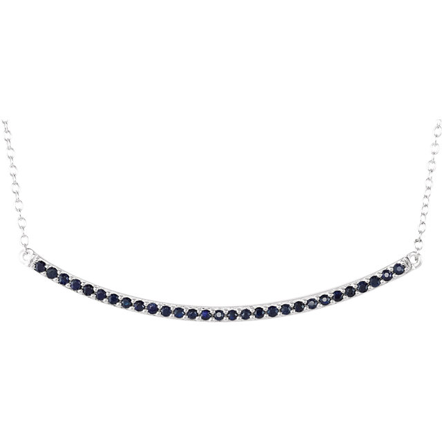 Jewelry Find 14 KT White Gold Blue Sapphire Bar 16-18