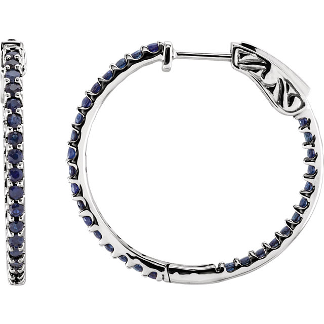 Quality 14 KT White Gold Blue Sapphire Hoop Earrings