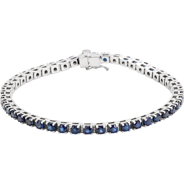 Magnificent 14 Karat White Gold Round Genuine Blue Sapphire Line Bracelet