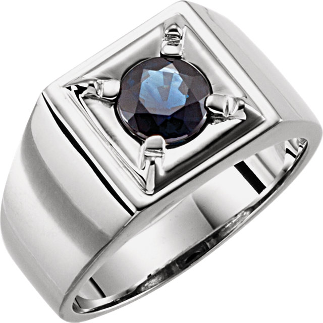 Must See 14 KT White Gold Blue Sapphire Men's Ring
