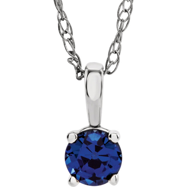 Easy Gift in 14 Karat White Gold Blue Sapphire