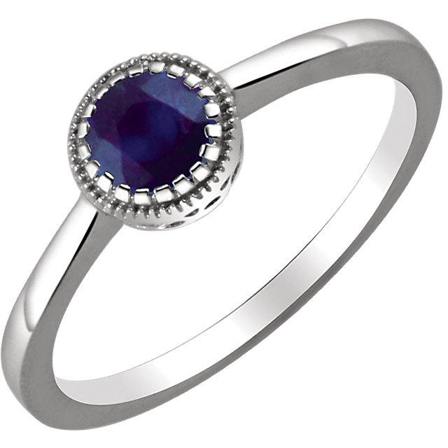 Jewelry Find 14 KT White Gold Blue Sapphire
