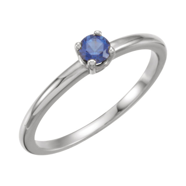 Amazing 14 Karat White Gold Round Genuine Blue Sapphire