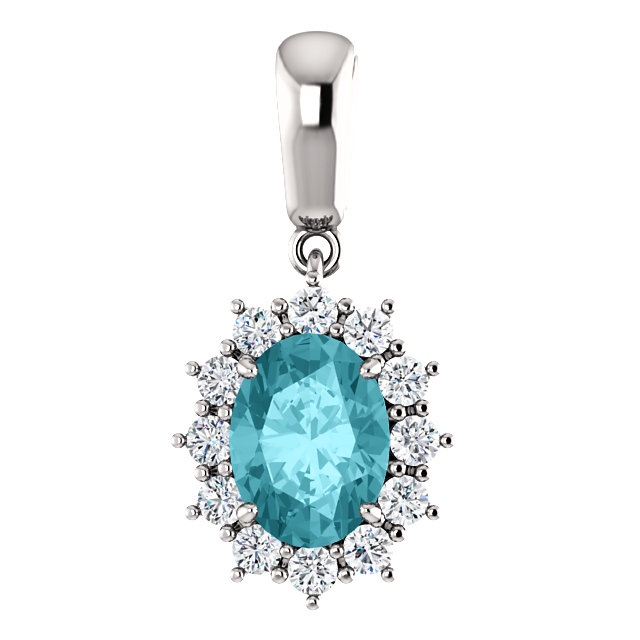 14 Karat White Gold Blue Zircon & 0.33 Carat Diamond Pendant