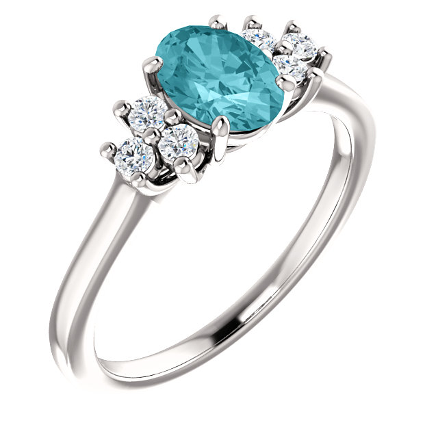 Genuine 14 Karat White Gold Blue Zircon  & 0.20 Carat Diamond Ring