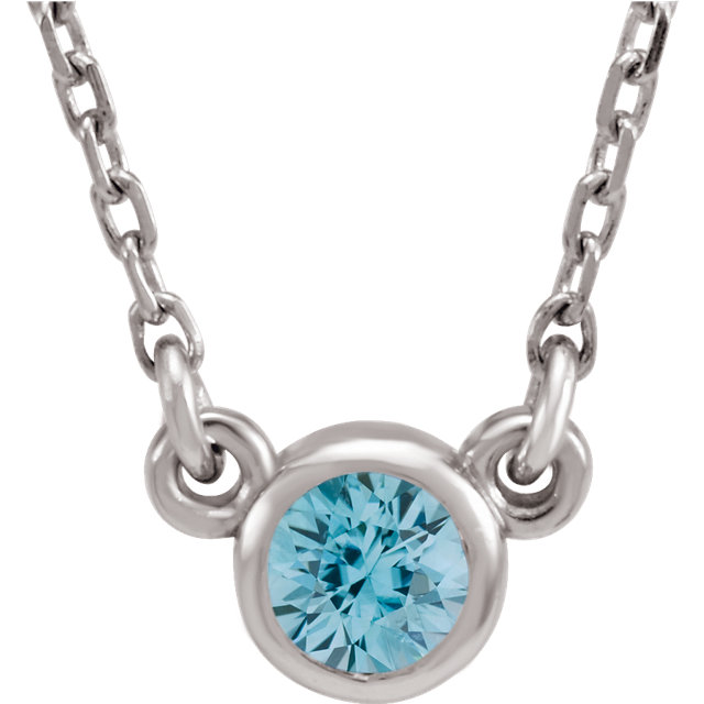 Great Gift in 14 Karat White Gold Blue Zircon 16