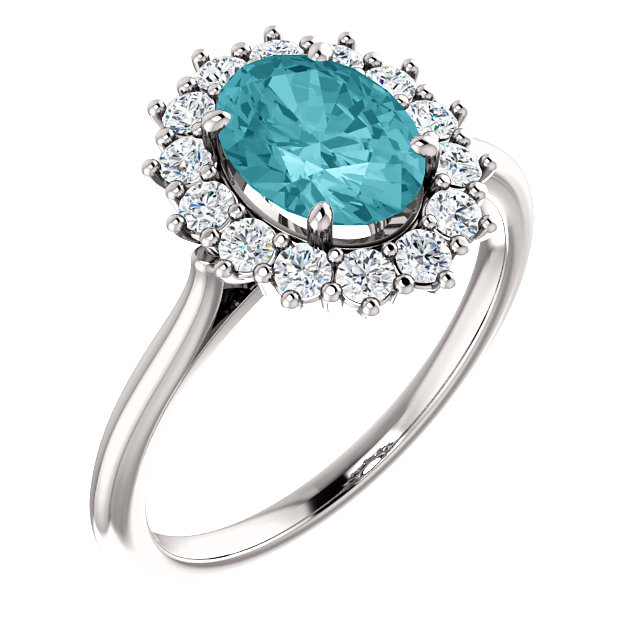 Magnificent 14 Karat White Gold Oval Genuine Blue Zircon & 3/8 Carat Total Weight Diamond Ring