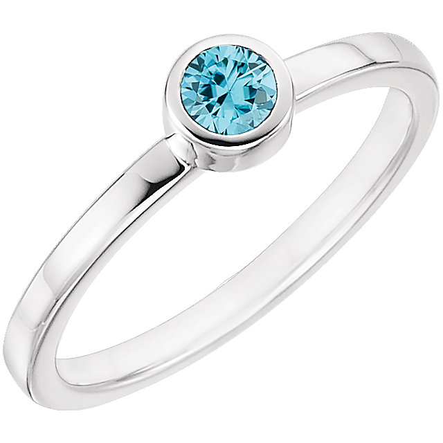 Extraordinary 14 Karat White Gold Round Genuine Blue Zircon Ring