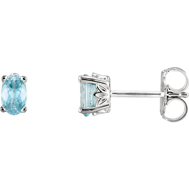 Stunning 14 Karat White Gold Blue Zircon Earrings