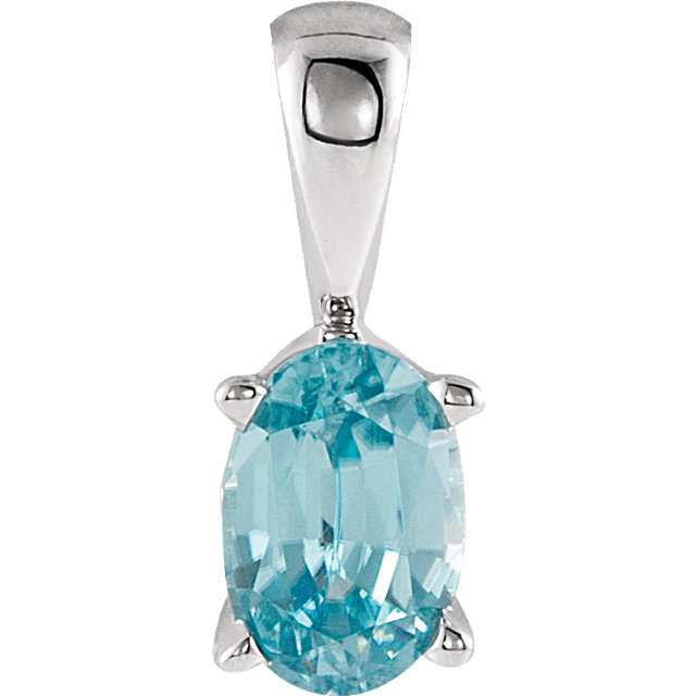 Genuine Zircon Pendant in 14 Karat White Gold Genuine Zircon Pendant