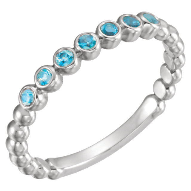 Enchanting 14 Karat White Gold Round Genuine Blue Zircon Stackable Ring