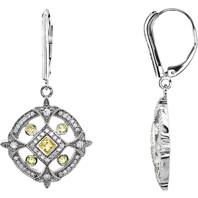 14KT White Gold Canary Yellow Sapphire & 1/2 Carat Total Weight Diamond Earrings