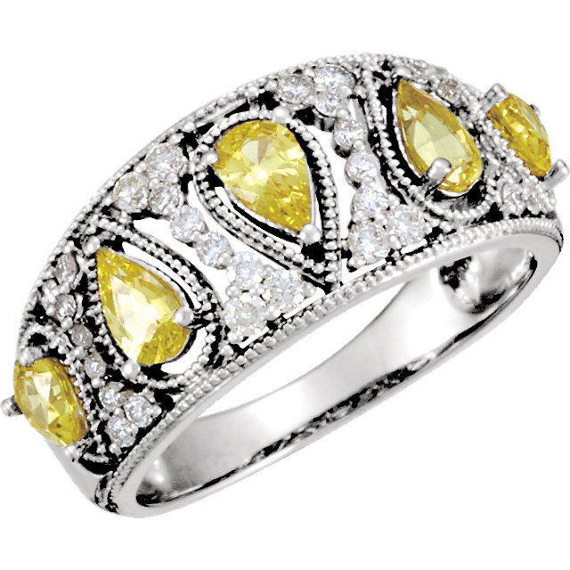 Great Deal in 14 Karat White Gold Canary Yellow Sapphire & 0.33 Carat Total Weight Diamond Ring
