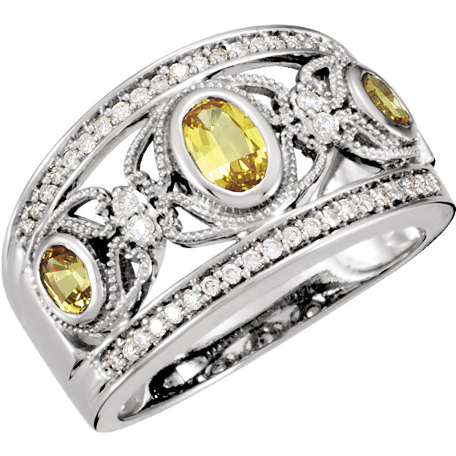 Genuine 14 KT White Gold Canary Yellow Sapphire & 0.25 Carat TW Diamond Ring