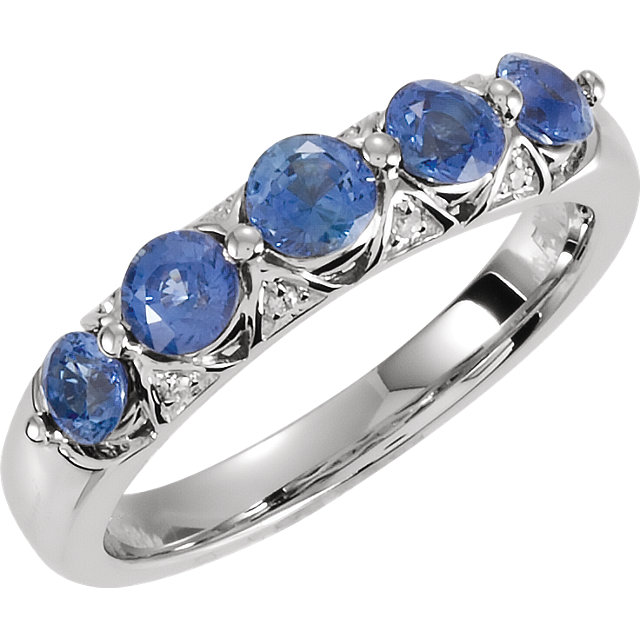 Contemporary 14 Karat White Gold Ceylon Blue Sapphire & .03 Carat Total Weight Diamond Ring
