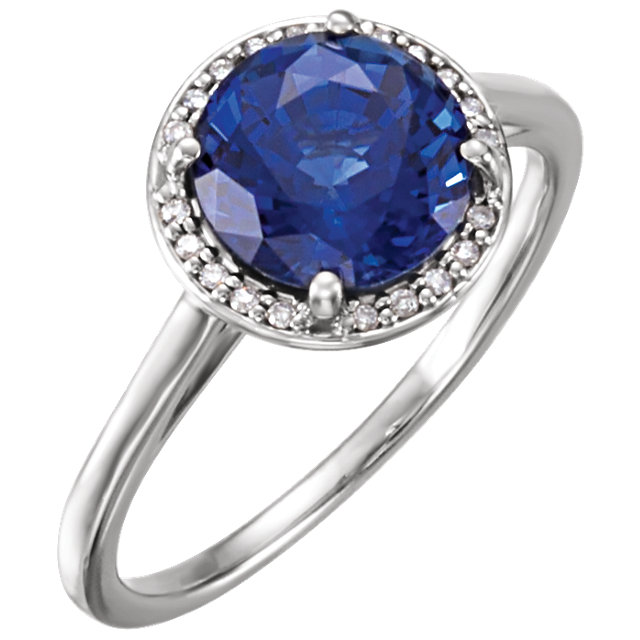 Easy Gift in 14 Karat White Gold Genuine Chatham Created Blue Sapphire & .05 Carat Total Weight Diamond Ring