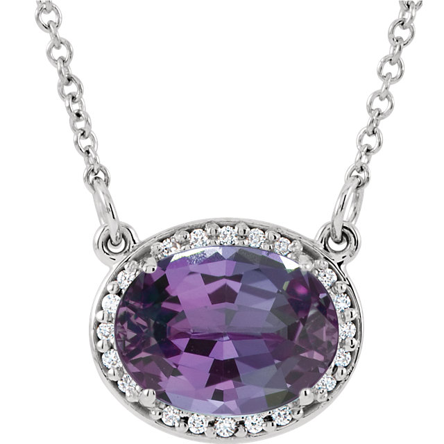 Surprise Her with  14 Karat White Gold Genuine Chatham Created Created Alexandrite & .05 Carat Total Weight Diamond 16.5