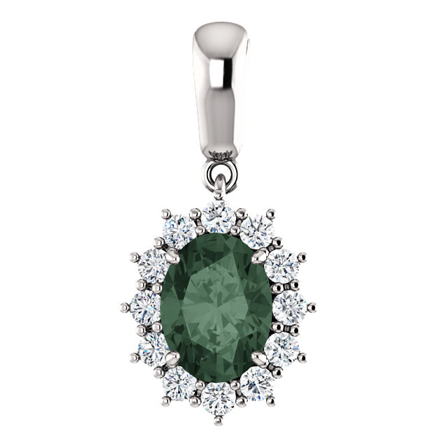 Great Deal in 14 Karat White Gold Genuine Chatham Created Created Alexandrite & 0.33 Carat Total Weight Diamond Pendant