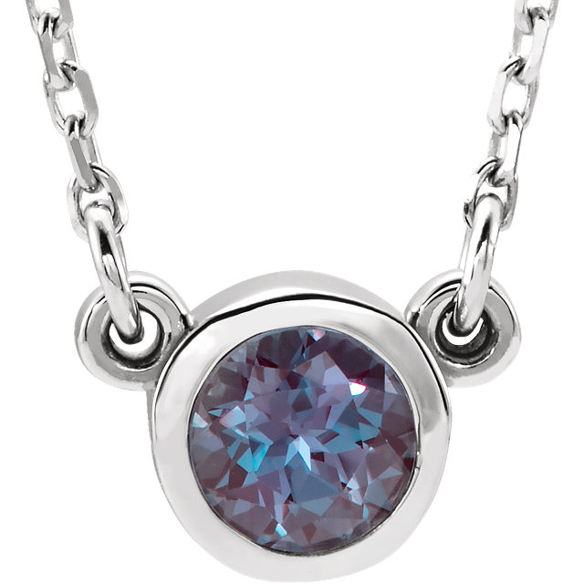 Wonderful 14 Karat White Gold Genuine Chatham Created Created Alexandrite 16