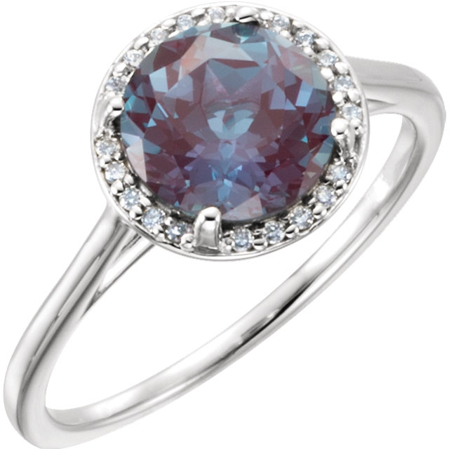 Genuine 14 Karat White Gold Genuine Chatham Alexandrite & .05Carat Diamond Ring