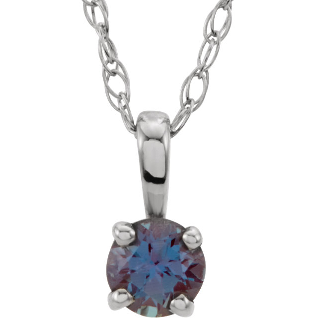 Perfect Jewelry Gift 14 Karat White Gold Genuine Chatham Created Lab-Created Alexandrite