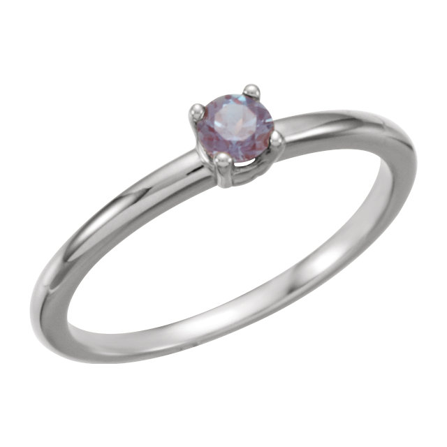 14 Karat White Gold Genuine Chatham Alexandrite