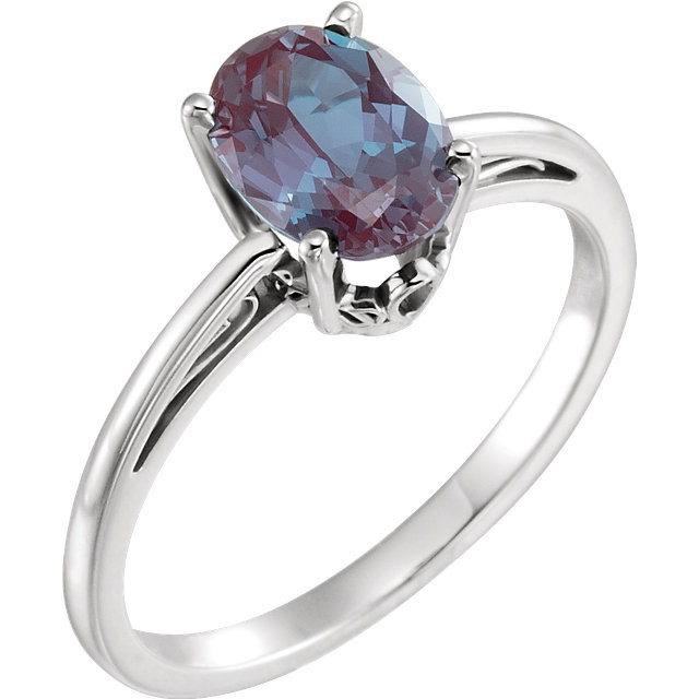 Genuine 14 Karat White Gold Genuine Chatham Alexandrite Ring