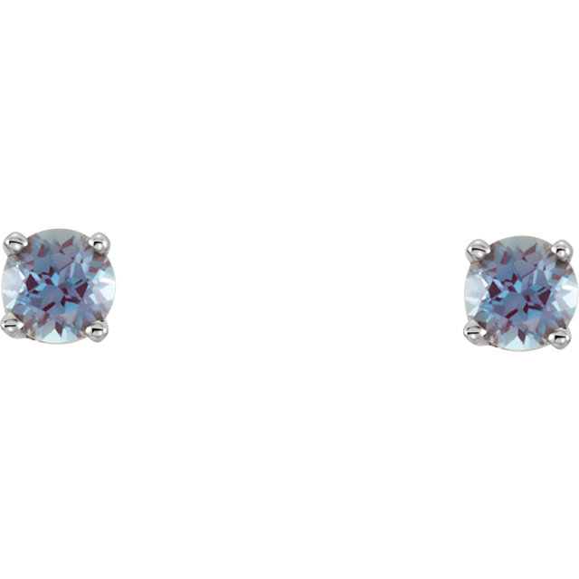 Appealing Jewelry in 14 Karat White Gold Genuine Chatham Created Lab-Created Alexandrite Earrings
