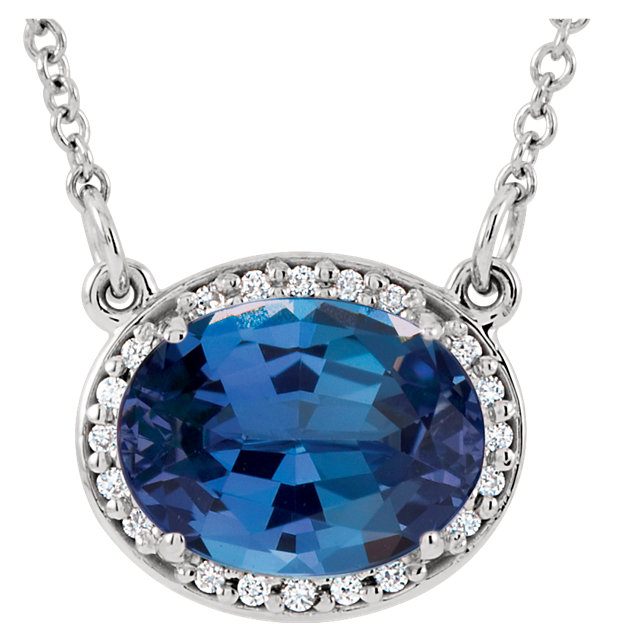 Perfect Gift Idea in 14 Karat White Gold Genuine Chatham Created Created Blue Sapphire & .05 Carat Total Weight Diamond 16.5