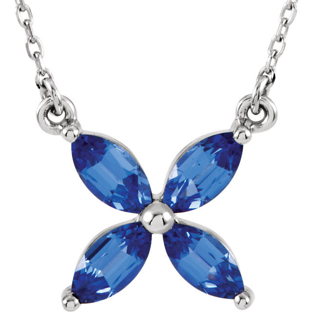 Chic 14 Karat White Gold Genuine Chatham Created Created Blue Sapphire 16