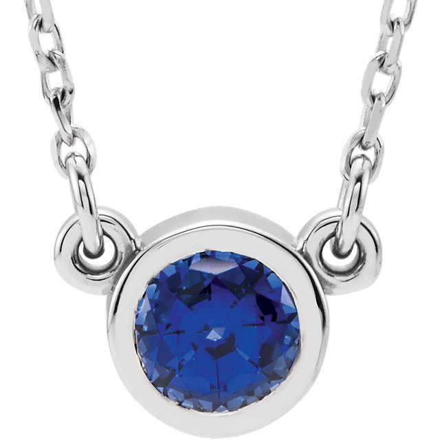 Perfect Gift Idea in 14 Karat White Gold Genuine Chatham Created Created Blue Sapphire 16