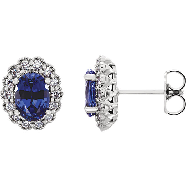 Attractive 14 Karat White Gold Chatham Created Oval Genuine Blue Sapphire & 0.40 Carat Total Weight Diamond Earrings